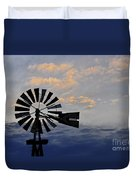 Windmill And Cloud Bank At Sunset Duvet Cover