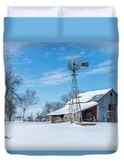 Windmill And Old Barn In Fresh Snow Duvet Cover