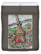 Windmill And Tulips  Duvet Cover