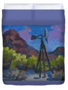 Windmill At Keys Ranch Joshua Tree Duvet Cover