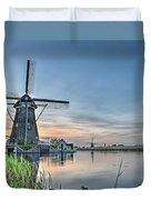 Windmill At Kinderdijk Duvet Cover
