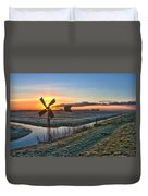 Windmill At Sunrise Duvet Cover