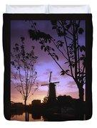 Windmill At Sunset Duvet Cover