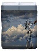 Windmill Energy On Old Prairie Farm Duvet Cover
