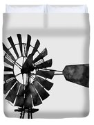 Windmill In Black And White Duvet Cover