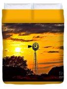 Windmill In Texas Sunset Duvet Cover