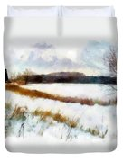 Windmill In The Snow Duvet Cover by Valerie Anne Kelly