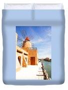 Windmill On Canal - Trapani Salt Flats Duvet Cover
