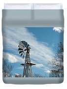 Windmill With White Wood Base Duvet Cover