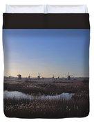 Windmills At Kinderdijk In Wintersun Duvet Cover