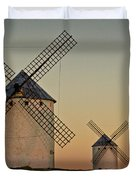 Windmills In Golden Light Duvet Cover by Heiko Koehrer-Wagner