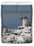 Windmills Of Santorini Duvet Cover