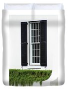 Window And Black Shutters Duvet Cover