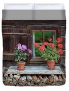 Window And Geraniums Duvet Cover by Yair Karelic