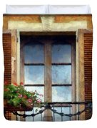 Window Shutters And Flowers I Duvet Cover
