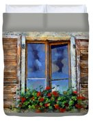 Window Shutters And Flowers IIi Duvet Cover