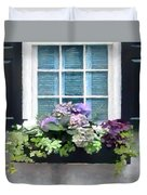 Window Shutters And Flowers Vi Duvet Cover