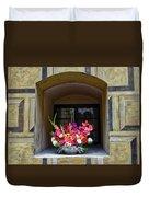 Window Sill Flower Arrangement At Cesky Krumlov Castle In The Czech Republic Duvet Cover