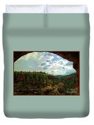 Window View From Inside Gila Cliff Dwellings Duvet Cover