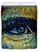 Windows Into The Soul Eye Painting Closeup All Seeing Eye In Blue Pink Red Magenta Yellow Eye Of Go Duvet Cover