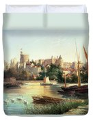Windsor From The Thames   Duvet Cover by Robert W Marshall