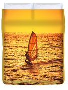 Windsurfer At Sunset Duvet Cover