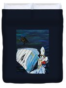 Windsurfing And Sea Turtle Duvet Cover