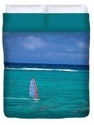 Windsurfing In Clear Ocea Duvet Cover by Allan Seiden - Printscapes