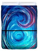 Windwept Blue Wave And Whirlpool Diptych 1 Duvet Cover