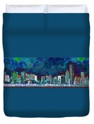 Windy Chicago Illinois Skyline Party Nights 20180516 Duvet Cover