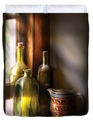 Wine - Three Bottles Duvet Cover by Mike Savad
