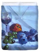 Wine And Fresh Fruits Duvet Cover