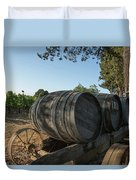 Wine Barrels At Vineyard Duvet Cover