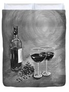 Wine On My Canvas - Black And White - Wine For Two Duvet Cover