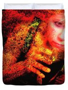 Wine Woman And Fall Colors Duvet Cover