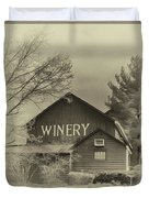 Winery In Sepia Duvet Cover