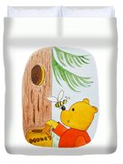 Winnie The Pooh And His Lunch Duvet Cover