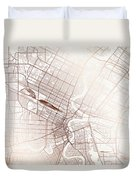 Winnipeg Street Map Colorful Copper Modern Minimalist Duvet Cover