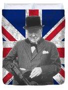 Winston Churchill And Flag Duvet Cover