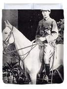 Winston Churchill On Horseback In Bangalore, India In 1897 Duvet Cover