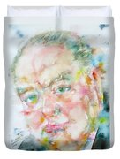 Winston Churchill - Watercolor Portrait.4 Duvet Cover