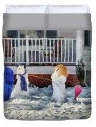 Winter - Christmas - Brother And Sister  Duvet Cover