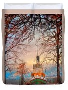Winter And The Tug Boat Duvet Cover
