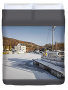 Winter At Bowling Harbour Duvet Cover