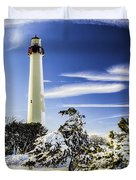 Winter At Cape May Light Duvet Cover