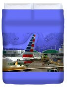 Winter At The Airport Duvet Cover