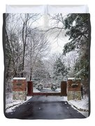 Winter At The Gate Duvet Cover