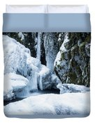 Winter At Virgin Creek Falls Duvet Cover