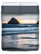 Winter Beach Stroll Duvet Cover