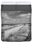 Winter Beach View - Black And White Duvet Cover